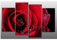 4 panel set abstract wall art home decoration Red Rose Home & Hotel Decorative Group Oil Painting canvas Uinque gifts FA04PS5001