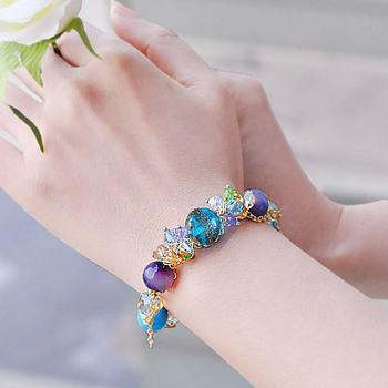Send the teacher austria crystal colored glaze agate fashion bracelet 18k bag gold chain female jewelry