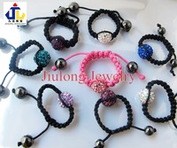 High fashion 12pcs/lot Adjustable Rope Macrame Pave Crystal rhinestone Braided Ring.mix  colors Wholesale,Free shipping. R0017