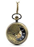 promotion (4pcs/lot) big size :47*47mm Hollow  Eagel mechanical pocket watch necklace,