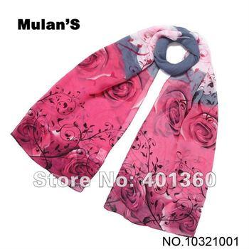 """Size 63""""x20"""" Fashion Ladies' Scarf Silk Chiffon High Quality Printed Floral Wrap Neck Scarf Shawl for Women"""