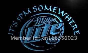 LA407- Miller Lite It's 5 pm Somewhere Neon Light Sign     home decor shop crafts led sign