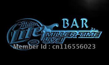 LA409- Miller Time Live Bar Beer Neon Light Sign    hang sign home decor shop crafts led sign