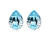 factory price 4 colors hot sales fashion white gold plated sea blue crystal stud Earrings BP037