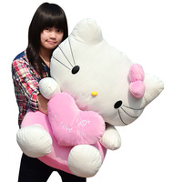Kt cat HELLO KITTY doll plush toy doll 60CM high large dolls cat birthday gift free shipping