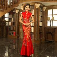 Cheongsam marriage of improved cheongsam dress summer fashion 2015 summer vintage fish tail long design Dress Free shipping