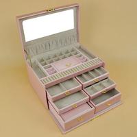 Pink brand jewelry box lockable jewelry cosmetics box