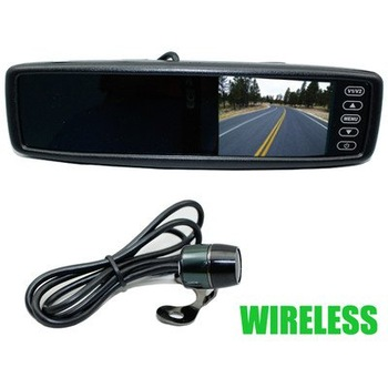 2.4G Wireless Car reversing rear view Mirror Moniotr DVD/TV/GPS Input +Camera