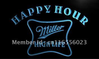 LA617- Miller High Life Happy Hour Bar Neon Light Sign    hang sign home decor shop crafts led sign