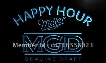 LA632- Miller MGD Beer Happy Hour Bar Neon Light Sign    hang sign home decor shop crafts led sign