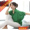 2012 summer fashion plus size clothing loose solid color batwing sleeve short-sleeve medium-long shirt
