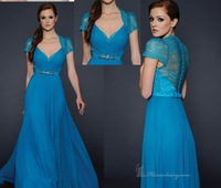 Blue V-Neck Short Sleeve Sash Ruffles Chiffon Full-length Evening Dresses MP-1001