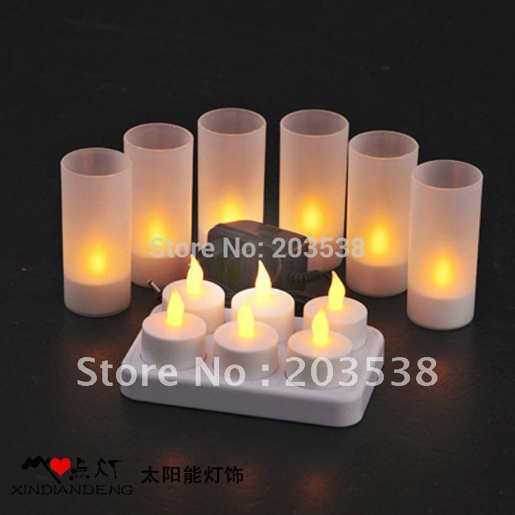 Free shipping 2014 Christmas LED Light Candle 6Pcs(set) Tea Light Rechargeable LED Candle Light+Charging(China (Mainland))