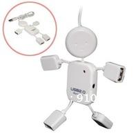 Free shipping Retail pack white HI-SPEED USB 2.0 4 port USB HUB,human shape/battroid USB HUB,multi port HUB as PC accessory.
