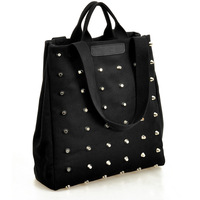 2012 autumn women's handbag fashion punk rivet bag handbag shoulder bag canvas bag