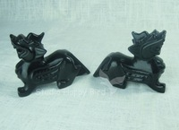 Gemstone 1Pair Black Obsidian Carved Feng Shui Money Wish Animal-Chinese Unicorn 4inch