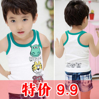 2012 children's clothing child baby 100% cotton cartoon sleeveless tank for 2~9Y free shipping wholesale drop shipping