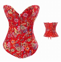 Sexy Lace up boned Red jeans flower print corset busiter showgirl outwear +G-string S-XXL