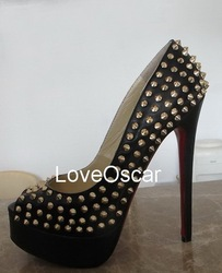 2012 new arrival red bottoms black leather gold studs Lady Peep Spikes 150 Heels Free shipping factory real pics(China (Mainland))