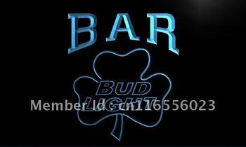 LA810- BAR Bud Shamrock Beer Neon Light Sign    hang sign home decor shop crafts led sign