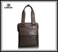 Cowhide leather small briefcase messenger bag men's bag shoulder bag genuine leather + Brown fasion style
