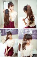 Is black hair horsetail wig import dumb light silk curl hair extension tablet bind belt type roll horsetail wig