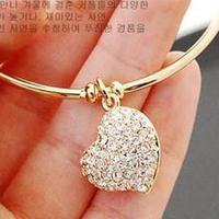 Sunshine jewelry store fashion crystal heart bracelets for women S040( $10 free shipping )