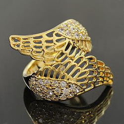 5pcs/lot Free Shipping Wholesale Cheap Silver Jewellery Fashion Angel Wings Ring Crystal Rings for Women(China (Mainland))