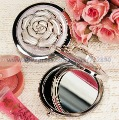 Free Shipping White Rose Cover Chrome Compact Mirror Favor  For Wedding Favors Gifts Party Accessory Decoration Supplies
