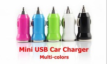 DHL Free Shipping! 100 pieces/lot Multi Color Colorful Bullet USB Car Charger for Mobile Phone/MP4 Player in Retail Packaging!(China (Mainland))