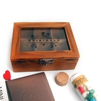 2014 Retro wooden writing case pen holder box high quality 4.2*12.9*20.9cm free shipping