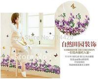 60*90cm Purple Flowers Fence Removable Wall Vinyl Decal Art DIY Home Decor Wall Sticker