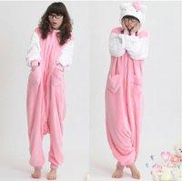 hello kitty full pajamas / cute coral fleece pajamas for women dress ladies sleepwear velvet  Hoody