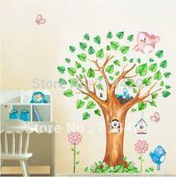 60*90cm Tree Dog Birds Removable wall Vinyl Decal Art DIY Home Decor Wall Stickers