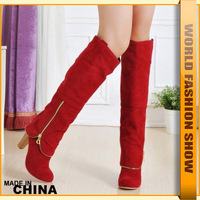 Big Size 34-43 New 2013 Sexy High Heels Knee Boots Zipper 4 Colors Women Fashion Shoes KB100 Free Shipping