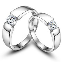 Lovers ring lettering pure silver platinum hearts and arrows ring
