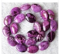 Wholesale 15.5inchs 13x18mm Flat Oval Natural Purple Jade LOOSE Beads