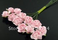 Free shipping artificial flowers / pink mini-rose flower paper flower bouquets DIY you gift box 144pcs/lot