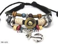 Wholesale Cow Leather Handmade Anchor Charm Bracelet