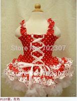 2014 Claret Santa Claus clothes tutu dress Girl party dress girls fashion dress/baby pettiskirt Free shipping 5pcs/lot F-010