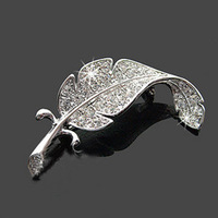 Sunshine jewelry store fashion full crystal leaves brooch for women Hl20806 ( min order $10 mixed order )