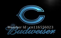 LD271-TM Chicago Bears Budweiser Bar Neon Light Signs Advertising