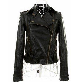 Free shipping New Arrival Women's Faux Leather Jacket,PU Lapel Coat down collar zipper punk outwear suede T140