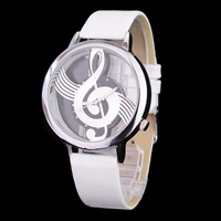 Sample Fashion Novelty Musical Note Dial Quartz Movement Watch with PU Leather band watch Womens watches wrist watch B636