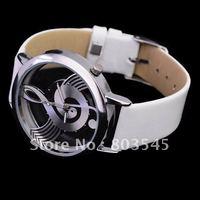 10pcs/lot Fashion Novelty Musical Note Dial Quartz Movement Watch with PU Leather band watch Womens watches wrist watch B636