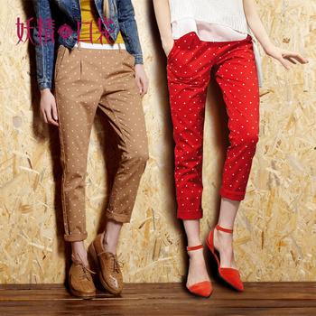 ELF SACK large autumn vintage preppy style 100% cotton small polka dot slim casual trousers
