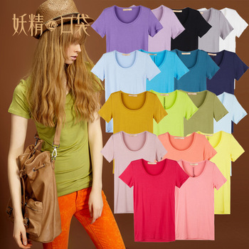ELF SACK summer chromophous slim basic short-sleeve t