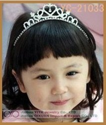 Factory Customize! New Cute Children Kids Girls Rhinestone Princess Hair Sticks Crown Headband Tiara Free Shipping 10pcs/Lot(China (Mainland))