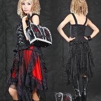 Glp punk solid color lace goths irregular skirt 61122