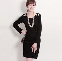 New Europen Style Fashion Large Faux Fur Collar  Plus Size Winter Cashmere Coat Long Outerwear N3039